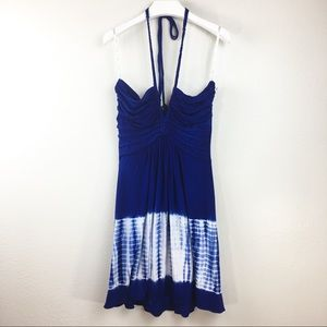 Sky Royal Blue Tie-Dye Mini Jersey Dress L